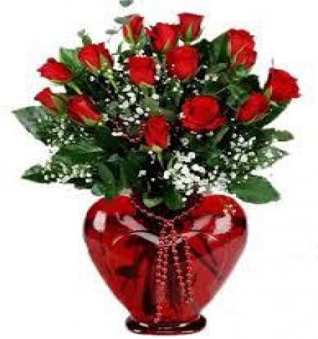 Erzurum Çiçek KALP VAZODA 15 KIRMIZI GÜL